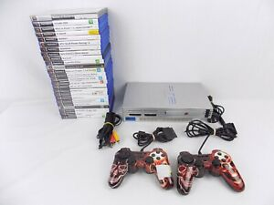 Ps2 Playstation 2 Silver Console Original Bundle + 2x Controllers + 25x Games