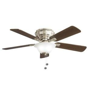 NEW HAMPTON BAY Hawkins II 44 in. LED Brushed Nickel Ceiling Fan with Light