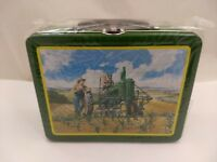 NOS John Deere Tractor Father Son & Dog LUNCHTIME Tin Litho Metal Lunchbox Farm