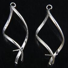 10Pcs Twisted Silver Plated Earrings Hooks Findings 43mm