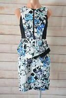 Portmans Pencil Dress Size 8 Peplum Blue White Black Floral Exposed Zip