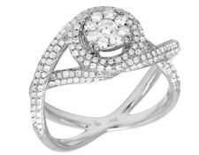 14K White Gold Genuine Diamond Cluster Infinity Ladies Fashion Ring 1.35Ct 10MM