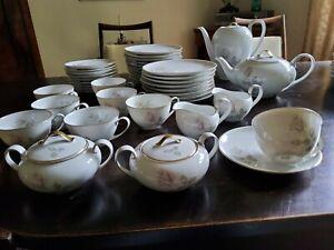 Hutschenreuther Hohenberg Kaffeeservice Teeservice Goldrand Rosen 8 Personen