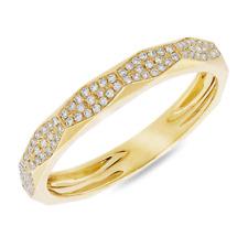 Mujer 14K Oro Amarillo Diamante Parte Superior Plana Moda Anillo de Banda
