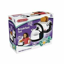 Casdon Toy Kettle & Toaster Realistic Set Chrome Effect Kitchen Breakfast New
