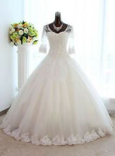 Half Sleeve Lace Ball Gown Wedding Dress Crystal Tulle Plus Size Bridal Gowns