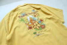 Tommy Bahama Hawaiian Short Sleeve Camp Shirt Relax Mens Size L 100% Silk Yellow