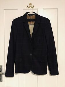 Zara Women's Navy Blue Checked Blazer with Elbow Patches