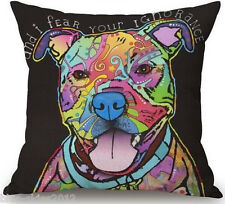 STAFFY/ Staffordshire Bull Terrier DOG LINEN-COTTON Bright CUSHION COVER UK Sale
