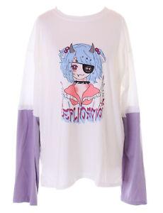 TS-323-1 Weiß Lila Mix Evil Manga Figur Teufel Grafik Langarm-Shirt Pastel Goth