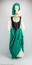 Medieval / Renaissance Peasant Woman 5 Pc Emerald Gr.& Blk. Costume S/M
