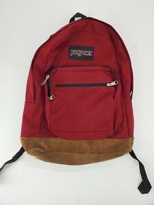 Jansport Backpack Vtg 90s Suede Leather Bottom School Book Bag Red