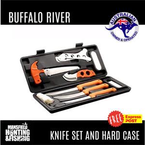 BUFFALO RIVER KNIFE SET - DEER HUNTING BUTCHERING KIT - FREE EXPRESS POST!