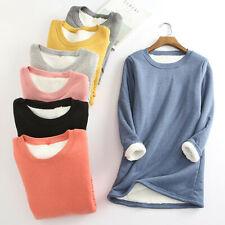 Women Thick Fleece Sweatshirt Thermal Velvet Bodywarmer Blouse Underwear Tops UK