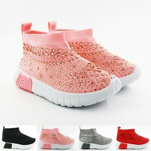 Girls Kids Diamante Sock Shoes Knited Trainers Flat Sport Sneakers Speed Runners