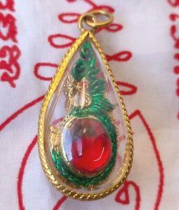 Pendant Talisman Naga Snake Dragon Peg Bead Red Yant Thai Buddha LP Holy Amulet