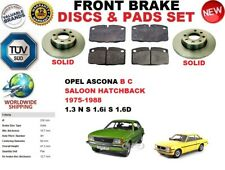 FOR OPEL ASCONA B C BERLINA HATCHBACK 75-88 FRONT SOLID BRAKE DISCS SET+PAD KIT