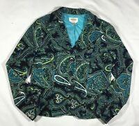 EUC Women's Talbots Blue Paisley Velvet Blazer Jacket-Size 6