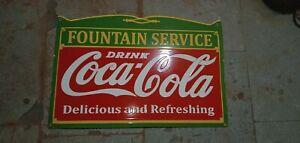 "Porcelain Coca Cola Fountain Enamel Sign Size 18"" x 27"" Inches"