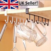 Metal 6 Hook Under Shelf Mug Cup Kitchen Cupboard Organiser Hanging Rack Holder