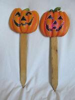 """Set 2 Halloween 17"""" Pumpkin Orange Jack-O-Lantern Fiber Optic Stake Yard Outdoor"""