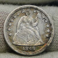 1849 Seated Liberty Dime, 10 Cents.. Key Date Only 839,000 Minted..  Nice (8288)