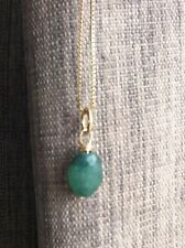 green EMERALD 9ct hallmark yellow gold pendant for necklace birthstone May