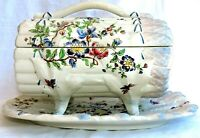 Rare  French Majolica  Asparagus Server : Covered Box and dish Luneville