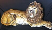 VTG LARGE GLAZED  CHALKWARE CERAMIC LION STATUE FIGURE MADE IN ITALY 30 X 14""