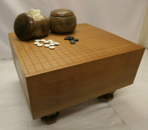 Vintage Japanese Wooden GO BOARD GAME with STONES Strategy Goban Go-Ishi #146