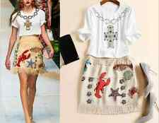Fashion Occident drill nail bead top+sea animals sequins embroidery skirt suit
