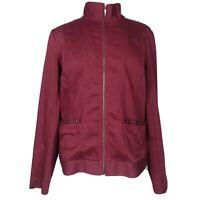 Christopher & Banks Maroon Red Full Zip Stretch Moto Denim Jacket Size L