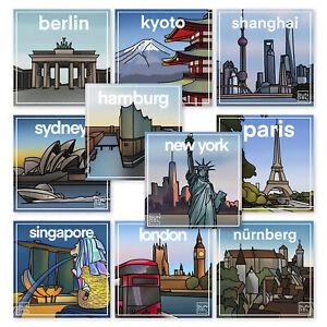 10x Aufkleber Koffer Sticker-Set Stadt Reise Gepäck Auto Laptop Länder Welt