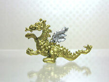 Dollhouse Miniature Gold Cast Metal Dragon Figurine with Silver Wings