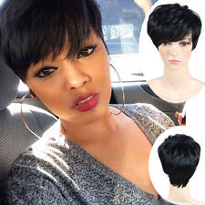 Fashion Short Cut Straight Layered Synthetic Wig Black Full Hair For Women-