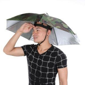 Portable Sunshade & Rain Umbrella Hat Army Green Camping Fishing Headwear