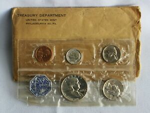 1956 US Proof Set 5 Coin Set 3 Silver Coins 1c-50c In Original Cello & Envelope
