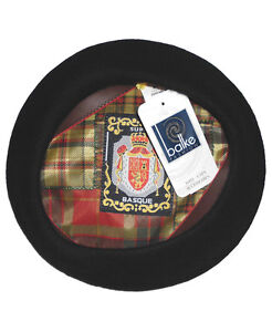 balke Herren Baskenmütze Basque Barret Baske Mütze 100% Wolle schwarz
