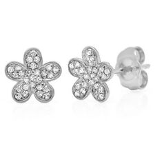 0.16 CT 14K White Gold Natural Round Diamond Flower Stud Earrings Floral Daisy