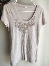 J CREW Cotton T-Shirt Top Size Small Beige Lightweight EUC