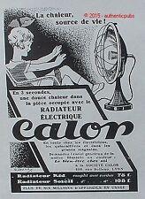 PUBLICITE CALOR RADIATEUR ELECTRIQUE KID SOLEIL DE 1928 FRENCH AD PUB ART DECO