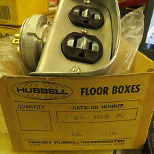 Hubbell SA-309-P2 Plug In Above Floor Power Fitting. satin aluminum, 15 A recep