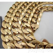 Mens 18K Yellow Gold Filled Hammered Flat Cuban Curb Chain Necklace Jewelry