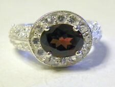 Sterling Silver Oval Rhodolite Garnet Ring White Topaz Accents Halo Design ** 6