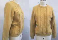 Vtg 50s Gold Wool Sweater Cable Knit Yellow Macys Wms Med 40s Italy Jumper
