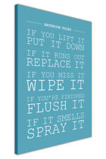 Bathroom Rules Quote Canvas Prints Wall Art Picture Toilet Artwork Decoration
