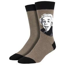 Socksmith Men's Crew Socks Genius Albert Einstein Brown Novelty Footwear