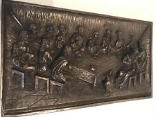 The Last Supper Cold Cast Bronze Wall Plaque. Origin, 60s Italy.