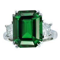AGL Graded 9.79 Carat Tsavorite Garnet and Diamond Three-Stone Ring