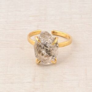 Clear Natural Rough Herkimer Diamond 24k Gold Plated Handmade Adjustable Ring